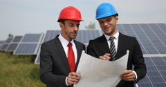 Supervisor Business Men Collaboration Holding Plan Analyzing Solar Panels Source Stock Footage