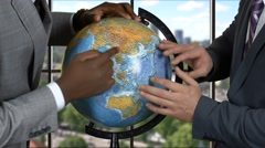 Male hands and globe. Stock Footage