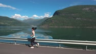 Woman jogging outdoors Stock Footage