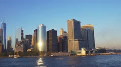Motion timelapse of Manhattan downtown skyscrapers and One World Trade Center, Stock Footage