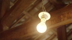 Incandescent Lightbulb in Cottage Stock Footage