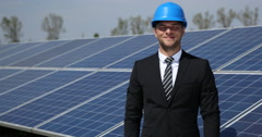 Positive Business Male Look Camera Optimistic Thumb Up Sign Solar Panels Source Stock Footage