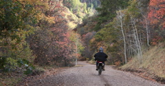 Mountain forest road motorcycle Autumn tree colors DCI 4K 458 Stock Footage