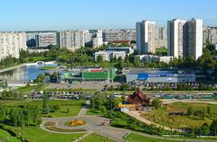 Moscow, Russia - September 01.2016. A Top view of the district 16 in Zelenogr Stock Photos