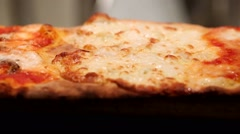 Closeup of boiling pizza margherita with tomato and mozzarella. Stock Footage