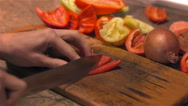 Red pepper cut with sharp knife for preservation Stock Footage