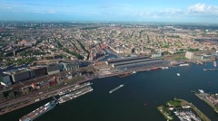City aerial view over Amsterdam Stock Footage