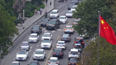 Cars crowded on the city street Stock Footage