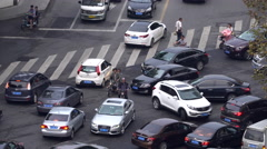 Cars crowded at a crossroad Stock Footage