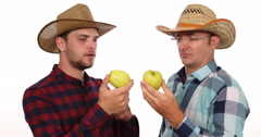 Cultivator Farmer Men Examining Volume Quality Check Fresh Juicy Golden Apple Stock Footage