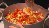 Woman mixed chopped vegetables in pot for cooking Stock Footage