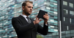 Corporate Businessman Browsing Digital Tablet Disappointment Moment City Center Stock Footage