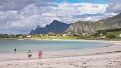 Timelapse Lofoten archipelago islands beach Stock Footage