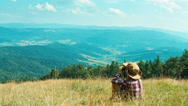 Portrait hiker child girl 7-8 years old looking at distance through binoculars Stock Footage