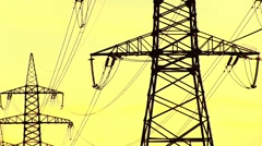Power Lines Yellow Sunset. Electricity Pylon Stock Footage
