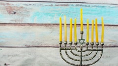 Hanukkah Candles symbol, tradition traditional Stock Footage