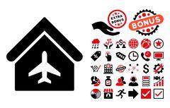 Aircraft Hangar Flat Vector Icon with Bonus Stock Illustration