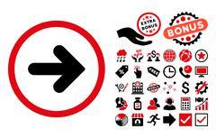 Arrow Right Flat Vector Icon with Bonus Stock Illustration