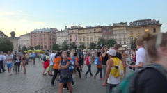 Krakow main square during WYD 2016 - happy colorful crowd - panoramic shot  Stock Footage