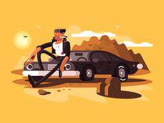 Tough man near car Stock Illustration