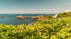 FootBridge to Rocher De La Vierge Rock, Biarritz, France Stock Footage