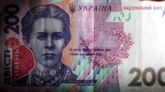 Hryvnia bill Ukrainian money burning in flames Stock Footage