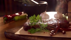 Fried stake in slow motion Stock Footage