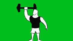 Black T-shirt Man Lifting Weights - Animation - Hand-Drawn - Green Screen - Loop Stock Footage