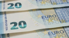 Business background of 20 Euros banknotes in a row 4K 2160p 30fps UltraHD til Stock Footage