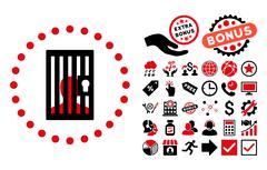 Closed Prisoner Flat Vector Icon with Bonus Stock Illustration