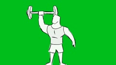 White Man Lifting Weights - Animation - Hand-Drawn - Green Screen - Loop Stock Footage