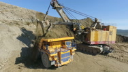 Aerial view bucket mining shovel huge track Stock Footage