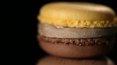 Tempting macaron confection, sweet high calorie dessert, unhealthy food, closeup Stock Footage