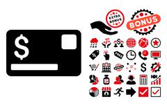 Credit Card Flat Vector Icon with Bonus Stock Illustration