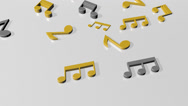 Music notes flowing on white background. Seamless animation. HD 1080 Stock Footage