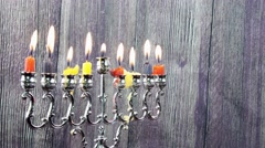 Jewish holiday Hanukkah with menorah Stock Footage