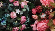 Artificial flowers in stock Stock Footage