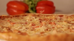 Pizza in slow motion Stock Footage