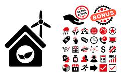 Eco House Building Flat Vector Icon with Bonus Stock Illustration