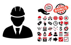 Engineer Flat Vector Icon with Bonus Stock Illustration