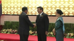 Hun Sen and Thongloun Sisoulith Stock Footage