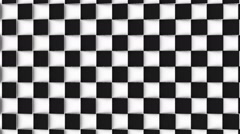 Checkered loopable background of black and white flipping tiles Stock Footage