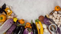 Fresh Vegetables table top view copyspace stop motion and time-lapse 4k Stock Footage