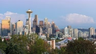Time lapse of clouds and night lights over Seattle WA from sunset into night 4k Stock Footage