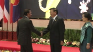 Hassanal Bolkiah and Thongloun Sisoulith Stock Footage