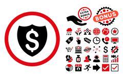 Financial Shield Flat Vector Icon with Bonus Stock Illustration
