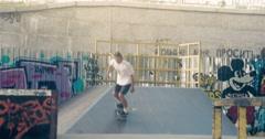 Skateboarder on skate doing rail slide grind tricks HD video on skateboard park Stock Footage