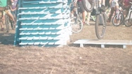Сyclist doing jump MTB tricks bicycle HD slow motion video. Mountain bike trial Stock Footage