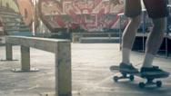 Skateboarder skate slide grind tricks HD video skateboard park. Extreme sport Stock Footage