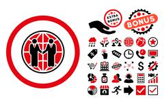 Global Partnership Flat Vector Icon with Bonus Stock Illustration